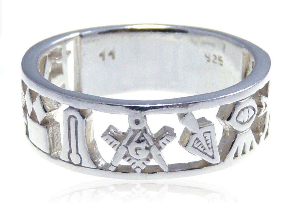 sterling silver masonic band ring gift box ebay