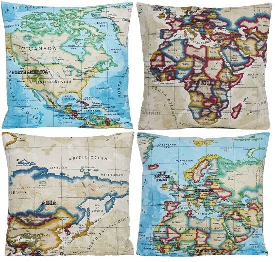 Map Cushion Cover World Atlas Pillow Case Fabric Blue Beige Printed ...