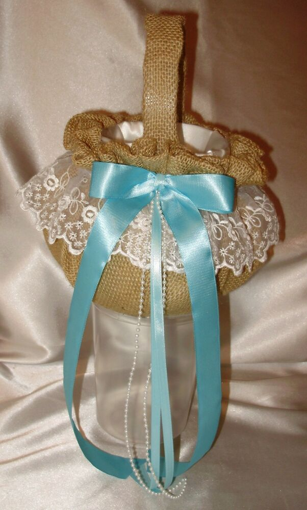 How To Make A Flower Girl Basket With Fabric : Burlap flower girl baskets your color ribbons