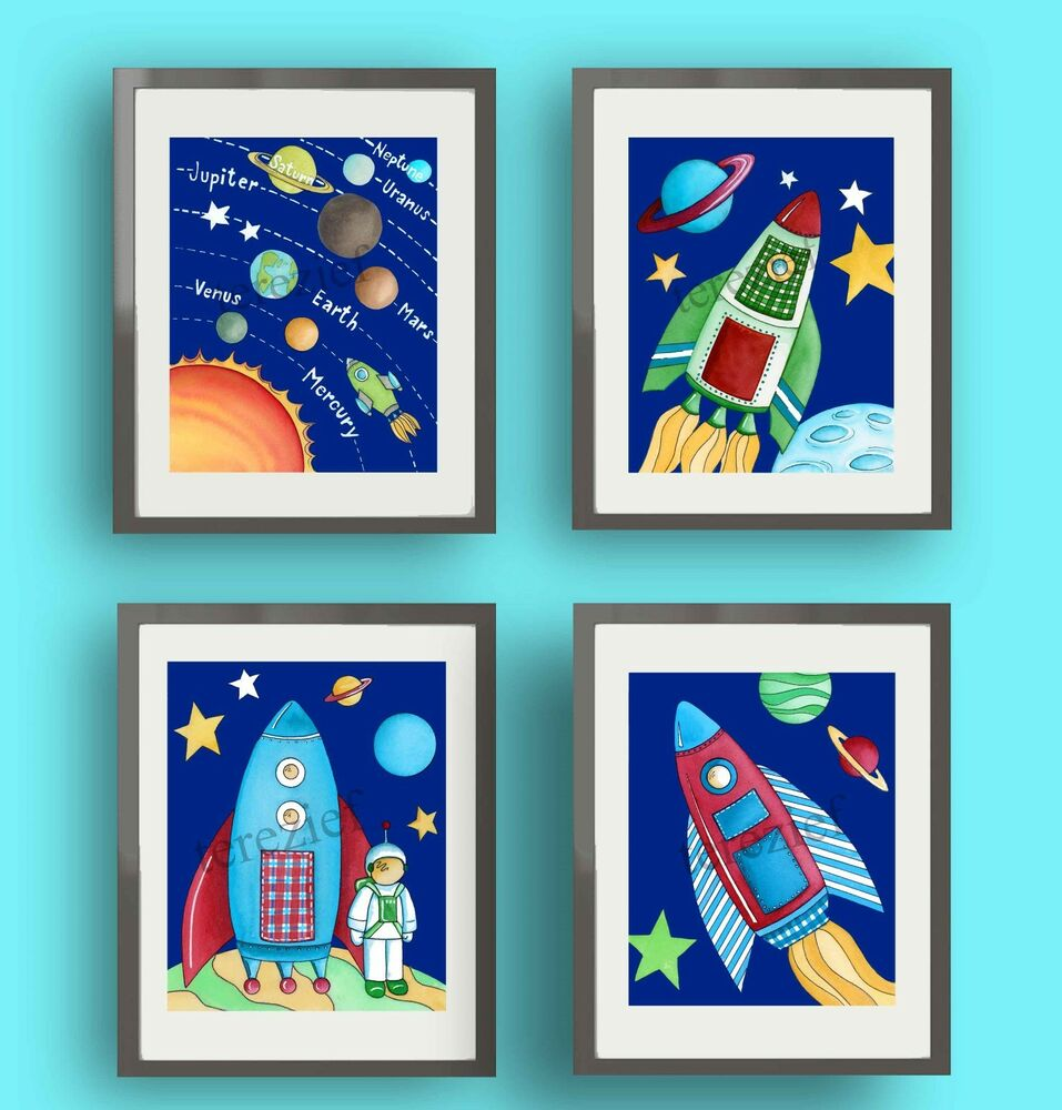 Space nursery wall art decor rocketship kids boy baby for Boys wall art