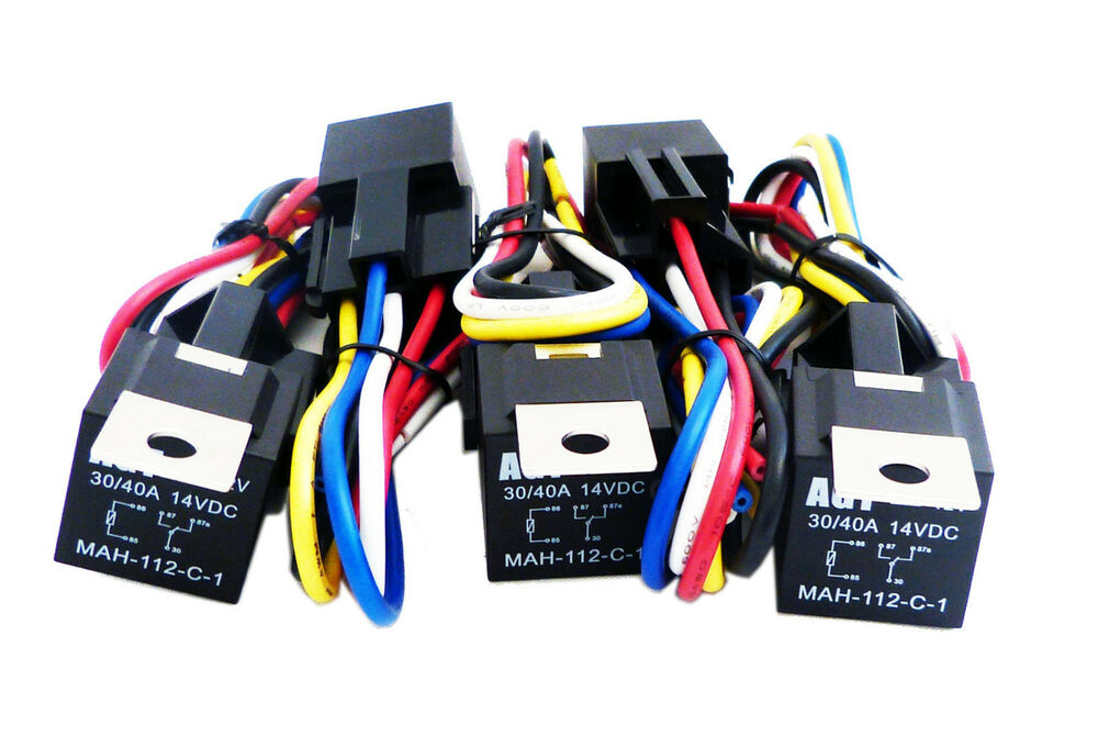 5 Pack  Car 30  40 Amp Relay Automotive Harness Socket 5