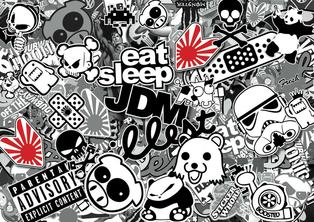 X4 jdm black white sticker bombing sheets a4 sticker bomb decal euro style ebay