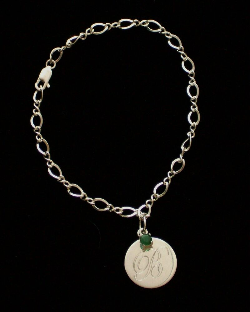 New Charm Bracelets: New .925 Sterling Silver Engravable Charm Genuine Emerald
