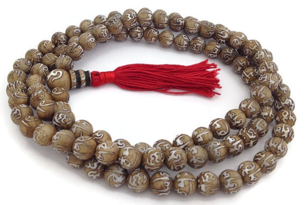 conch shell japa mala 108 mala mantra carved