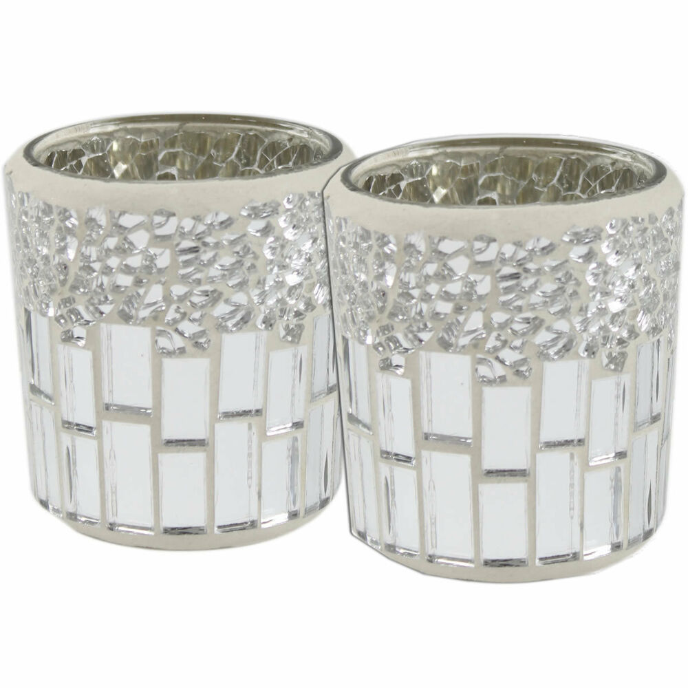 Set of 2 Silver and Chrome Mosaic Tealight Holders Tea