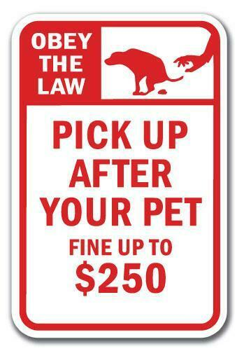 Keep Your Dog Leashed Pick Up After Your Pet Considerate 12x18 Aluminum sign