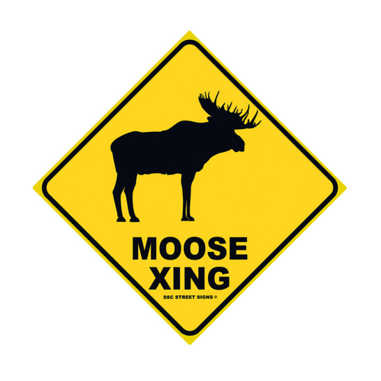 Traffic Signs Wall Decor : Moose xing aluminum metal traffic parking street sign wall