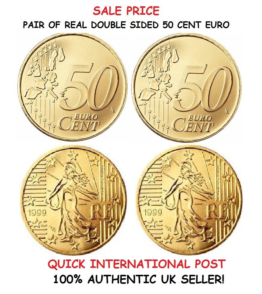 pair of real double sided 50 cent euro 1 two headed and 1 two tailed euro coin ebay. Black Bedroom Furniture Sets. Home Design Ideas