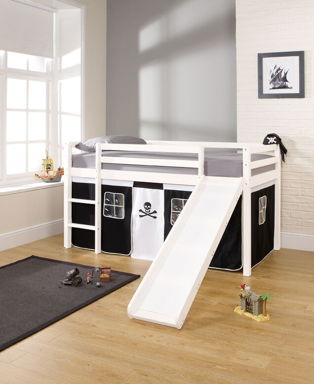 Cabin Bed Mid Sleeper WHITE with Slide and PIRATE Tent 66WG | eBay