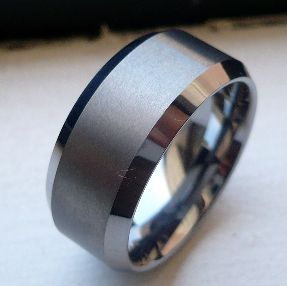 10mm tungsten carbide with brushed in middle man 39 s wedding band ring size 6 15 ebay. Black Bedroom Furniture Sets. Home Design Ideas