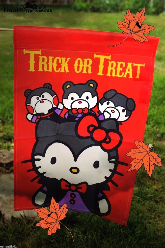 Hello Kitty Quot Trick Or Treat Quot Halloween Small Garden Flag