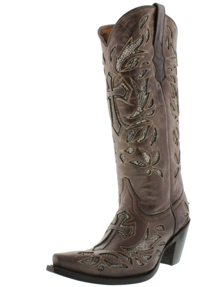 Women S Ladies Leather 14 Inch Cowboy Boots Old Cross Of