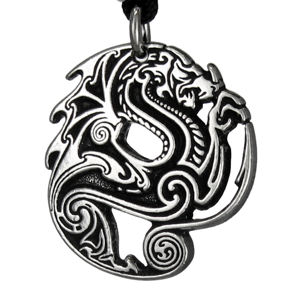Pewter Beowulf Dragon Necklace Gothic Pendant Heroic Valor War