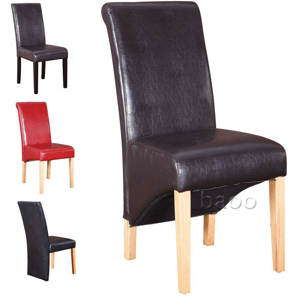 Dining chairs quality pu faux leather dining room chair for Dining room chairs