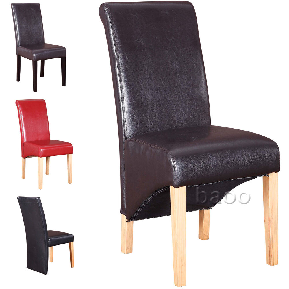 Dining chairs quality pu faux leather dining room chair for Faux leather dining chairs