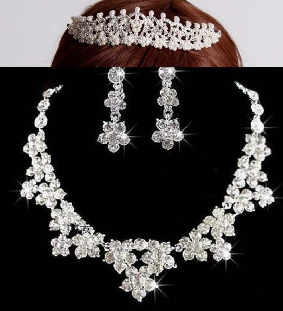 Rhinestone Wedding Pearl Forehead Tiara Clip On Earrings Necklace Jewelry Set | EBay