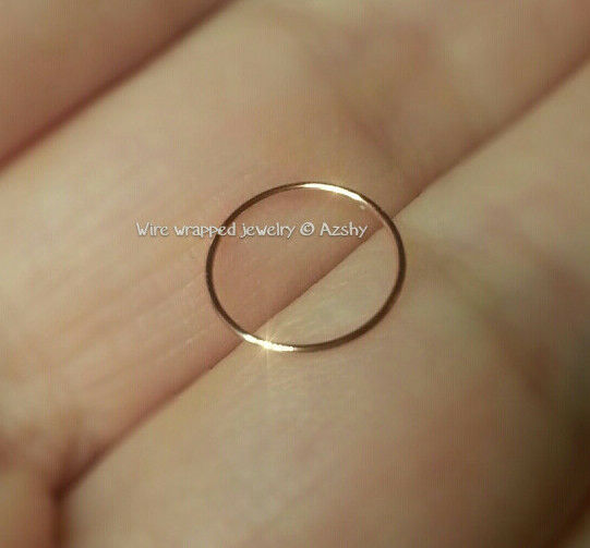 Nose Ring 8mm 14k Solid Gold Small 24g Hoop Cartilage