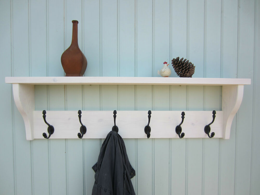Shabby Chic White Washed Hat Coat Rack Shelf With Acorn