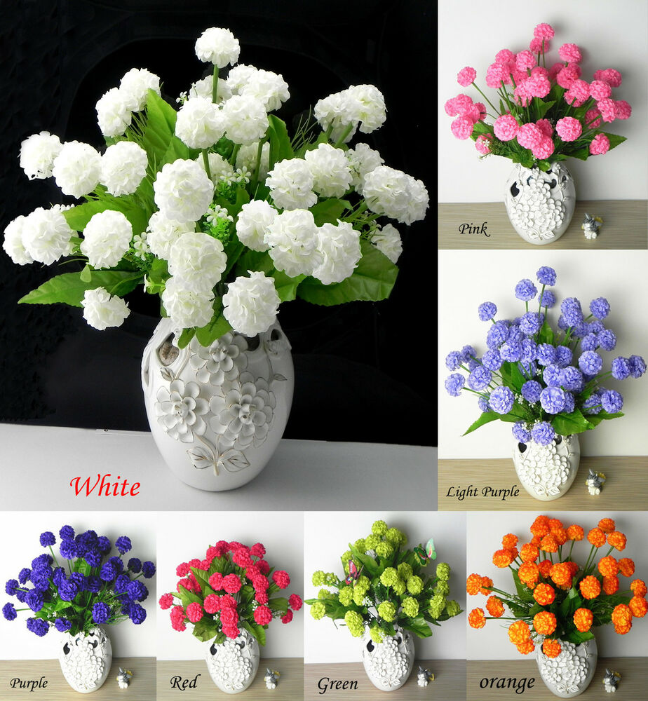 Home Decoration Flowers: 36 PCS Artificial Silk Hydrangea Flower Floral Wedding