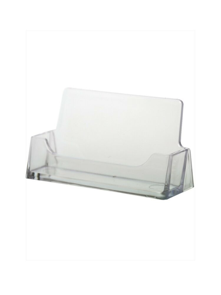 Acrylic clear business card holder display desktop ebay for Clear plastic business card holder