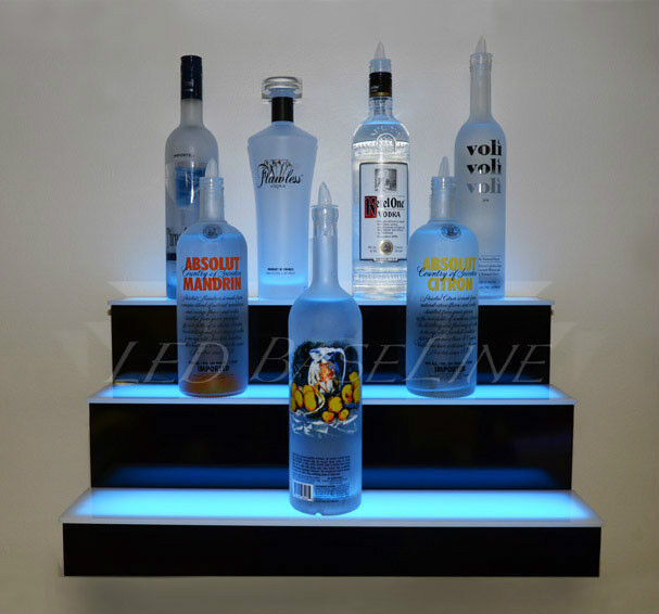 20 LED BOTTLE SHELF Three Step WALL MOUNT Liquor