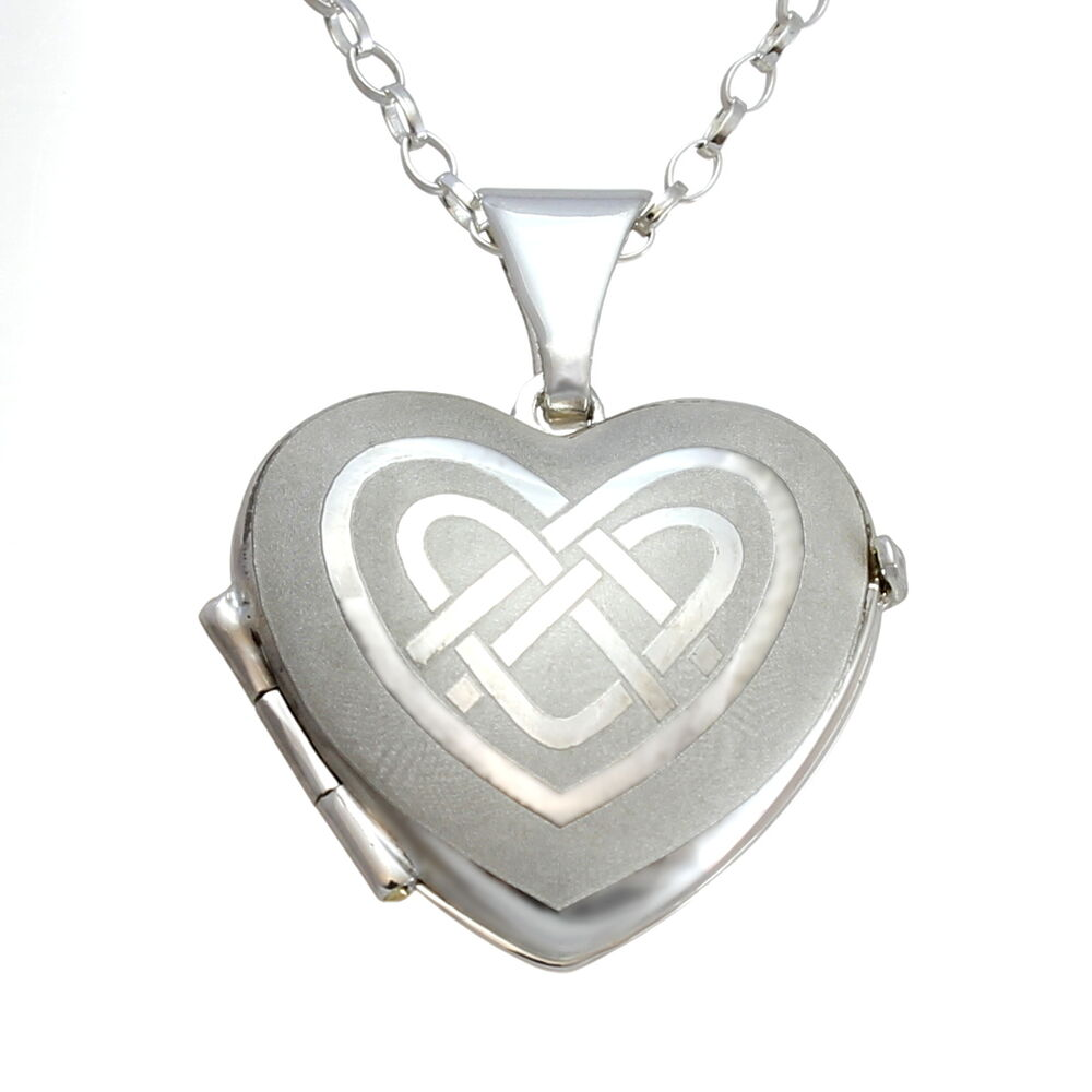 Sterling Silver Celtic Heart Locket Pendant With 18 Quot Chain