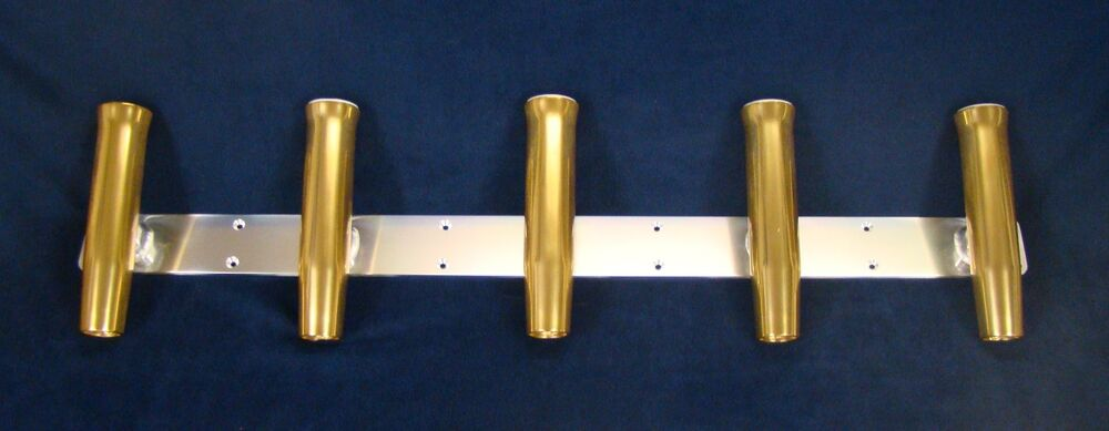 5 pole gold rocket launcher rod holders for boat for Rocket fishing rod