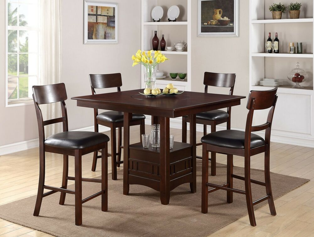 5pc dark rosy brown built in lazy susan square storage counter height dining set ebay. Black Bedroom Furniture Sets. Home Design Ideas