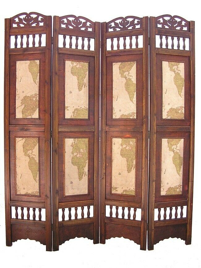 Old world map room divider screen 4 panel wooden frame ebay for Four panel room divider screen