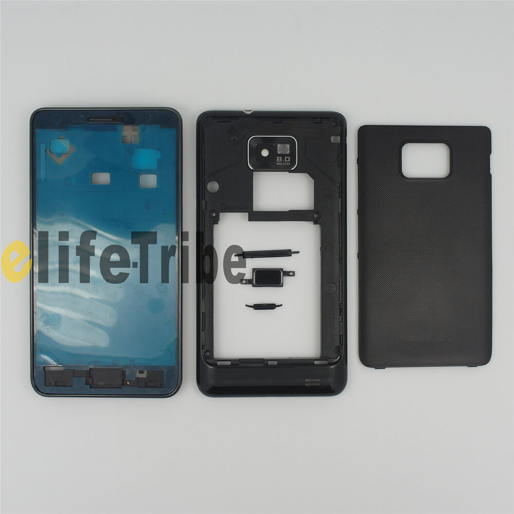 Full Housing Cover Case + Button for Samsung Galaxy S2 i9100 Black | eBay