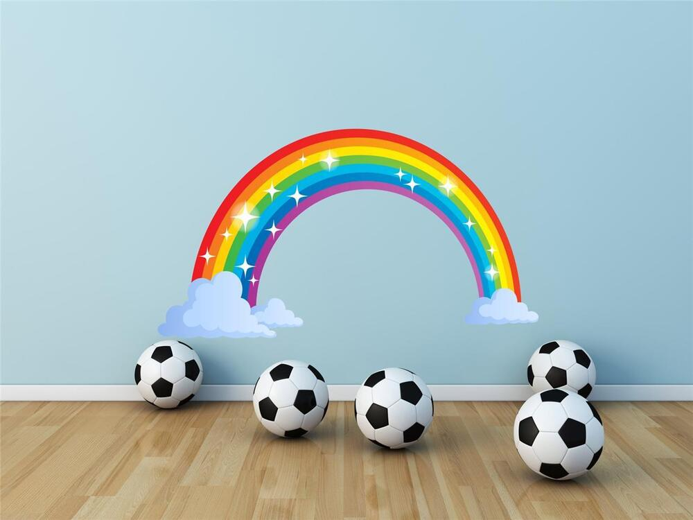 wall art sticker decal full colour rainbow clouds red girls rainbow wall decal removable wall decal self