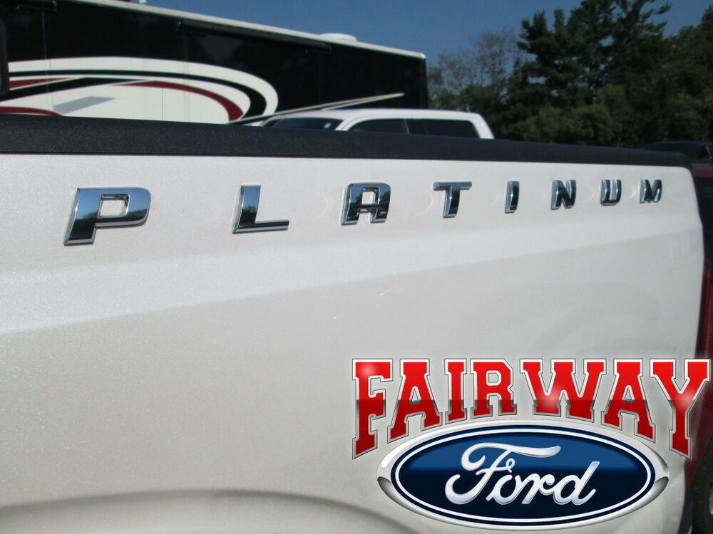 F F F OEM Genuine Ford Qty PLATINUM Bedside Chrome - F250 decals