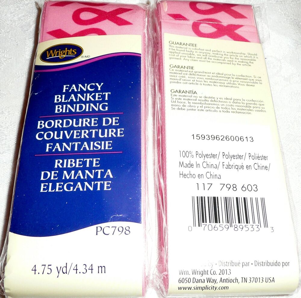 Wrights Satin Blanket Binding 4 3/4 Yds PINK With Pink