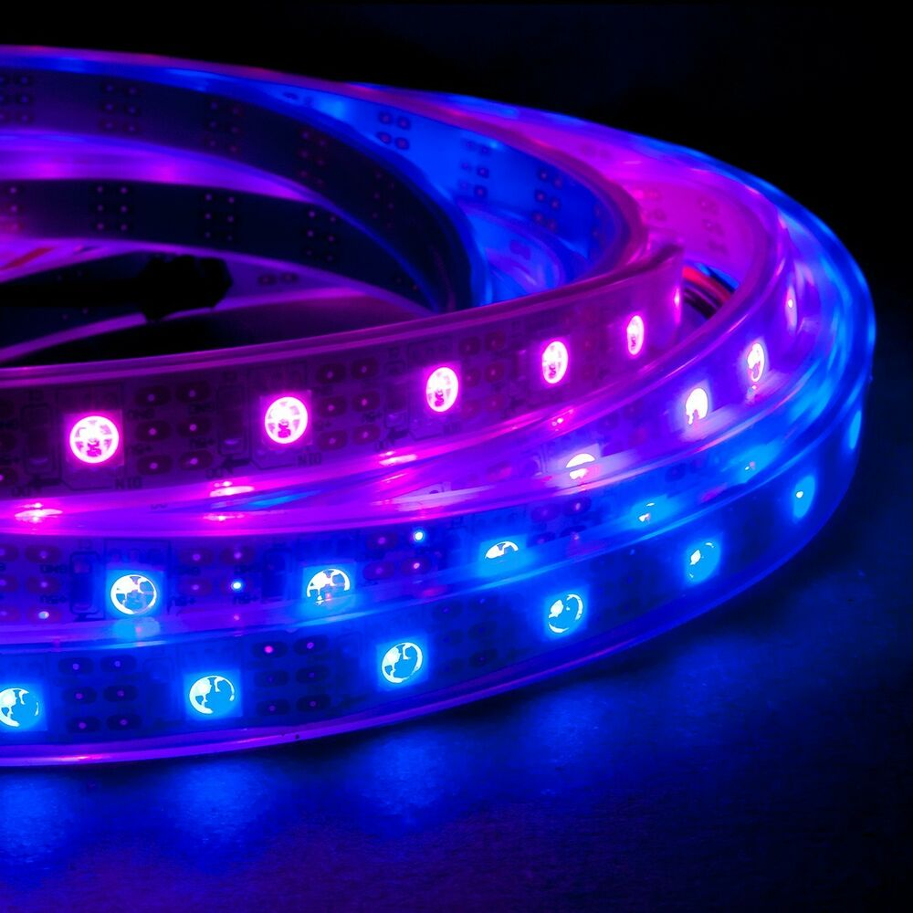 1m 60 led m rgb led light strip 5v ws2811 ws2801 waterproof addressable color ebay. Black Bedroom Furniture Sets. Home Design Ideas
