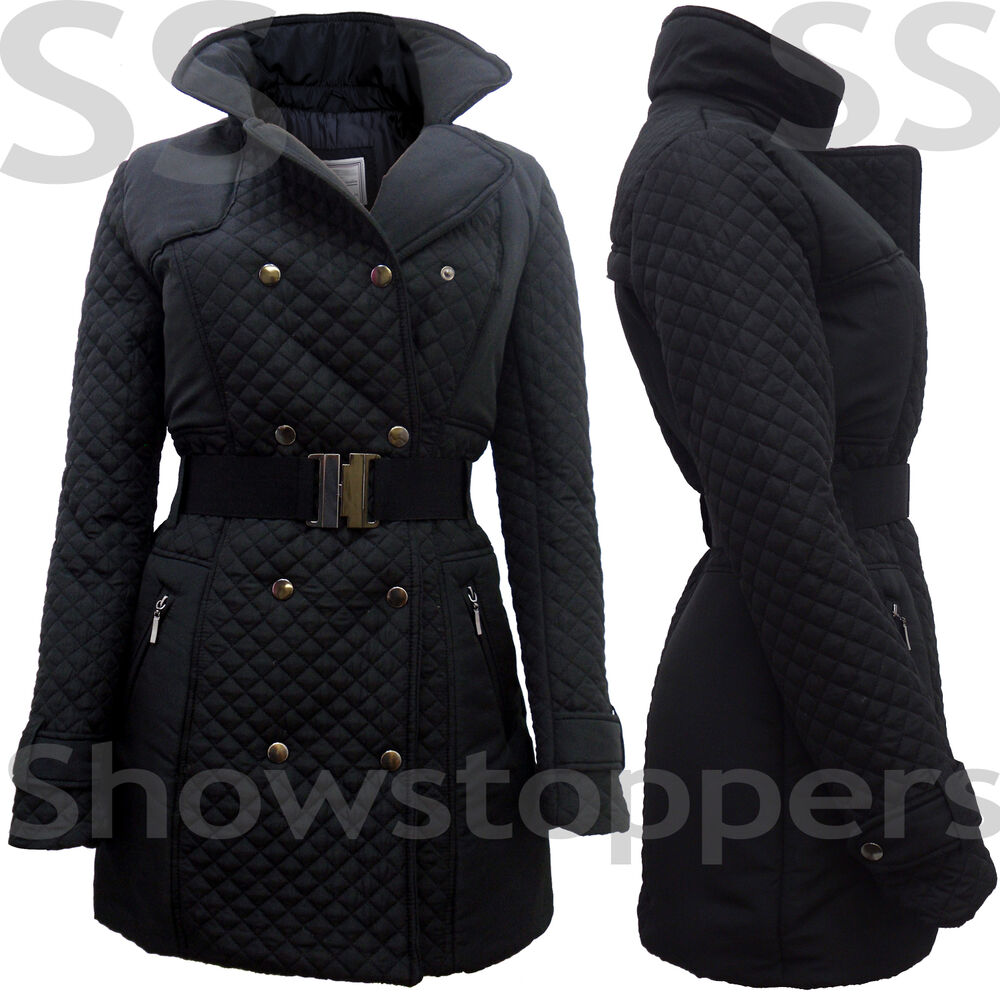 Size 8 10 12 14 16 Women MILITARY Ladies Quilted JACKET COAT ...