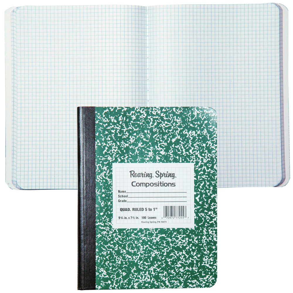 roaring spring 77255 composition book  5x5 quad ruled  9