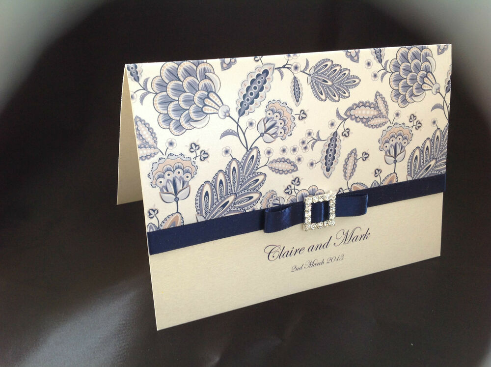Wedding invitations printed personalised handmade new for Ebay navy wedding invitations