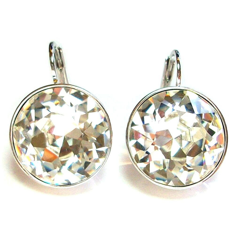 Large Round Bella Women Crystal Earrings made with Genuine