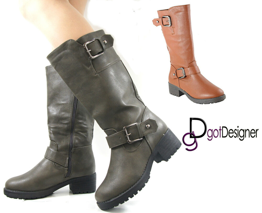 Model WOMENS LEATHER LOOK MID CALF KNEE FASHION RIDING BOOTS ZIP