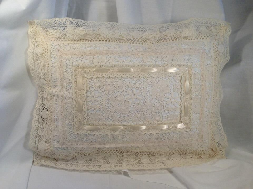 Decorative Victorian Pillows : Budoir 12x16 Victorian High End Lace with Ivory Ribbon Decorative Pillow eBay