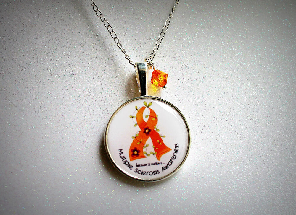 Multiple Sclerosis Ms Cabochon Necklace Silver Awareness