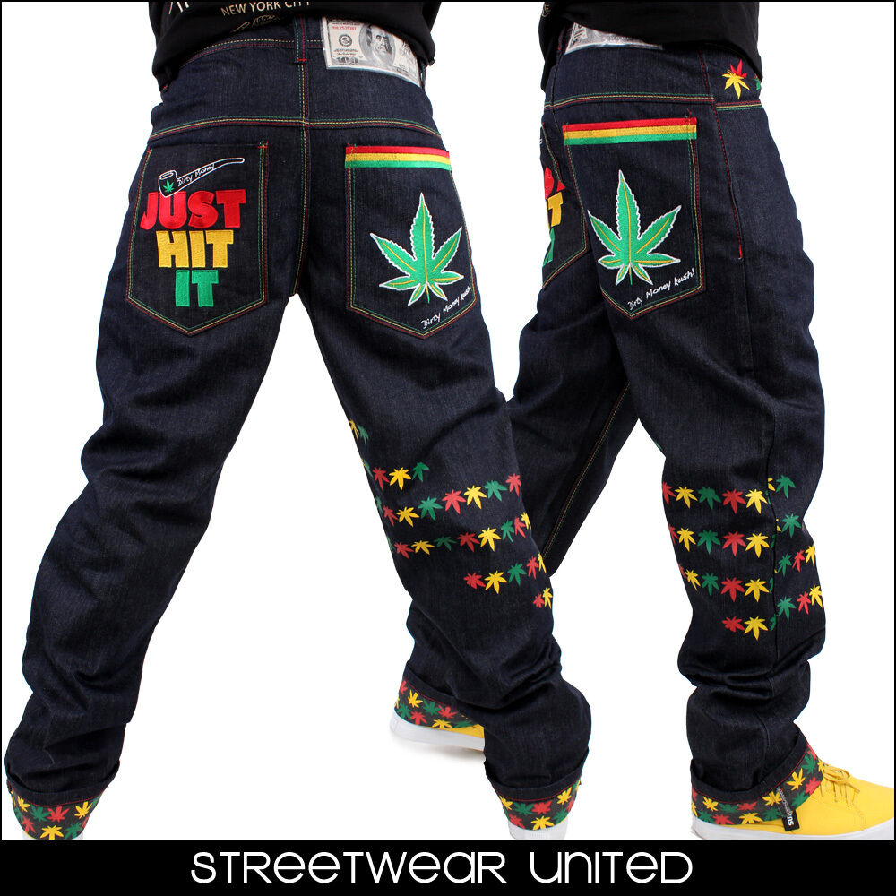 Dirty Money Marijuana Leaf Just Hit It Kush Turn Up Rasta Denim ...