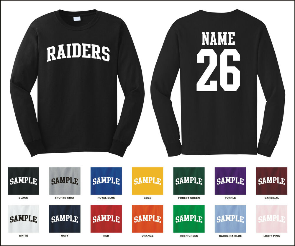 Raiders Custom Personalized Name Number Long Sleeve Jersey T Shirt