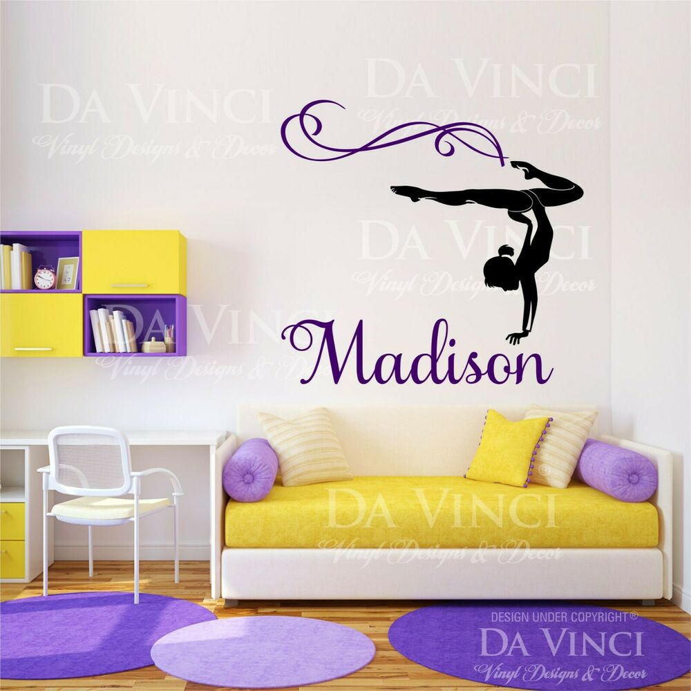 Personalized Girl Name Gymnast Gymnastics Dance Vinyl Wall