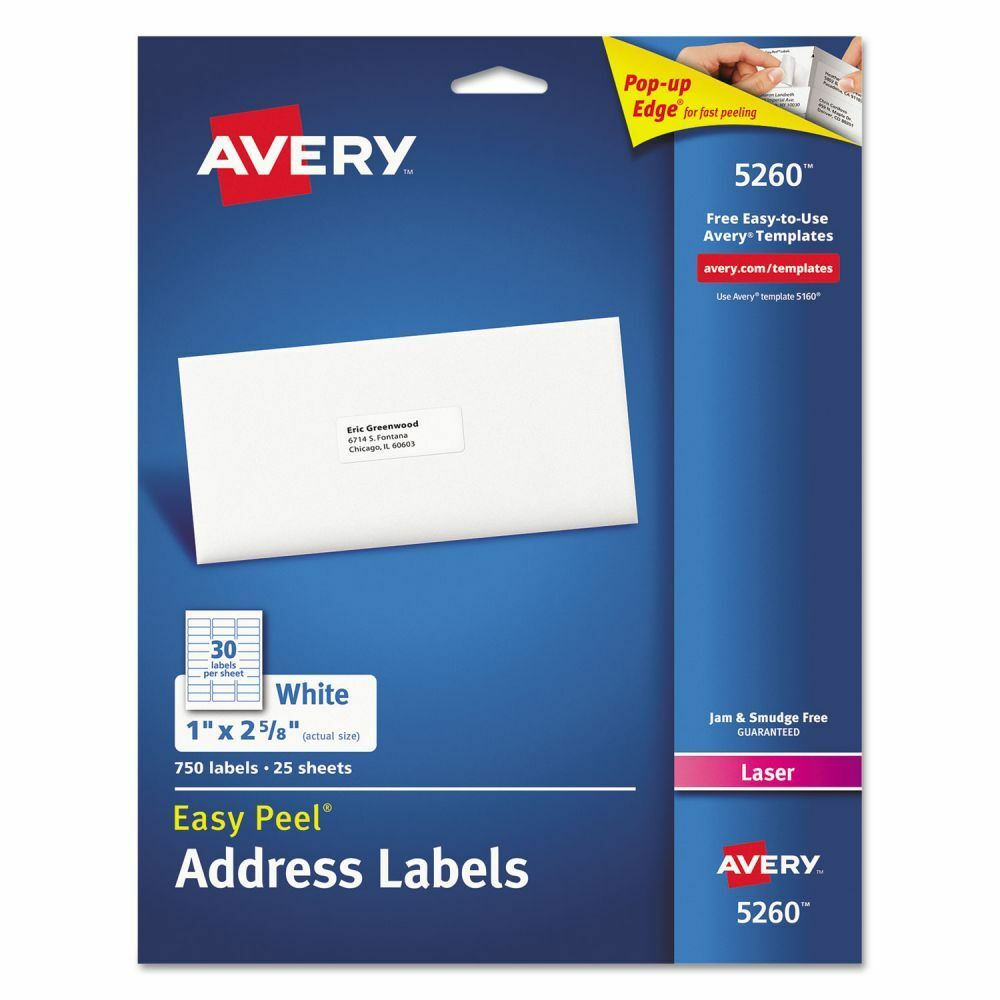 Avery Easy Peel Address Labels - AVE5260