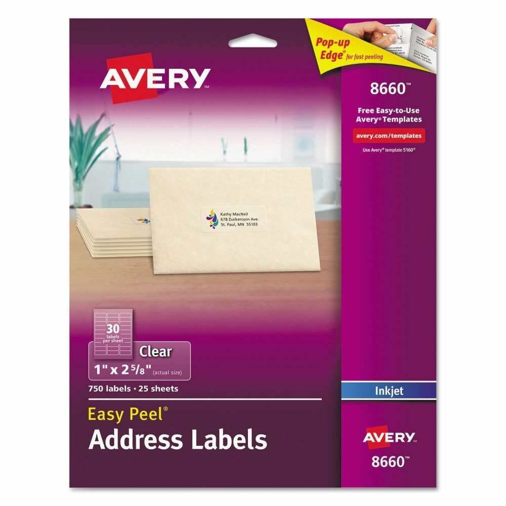 Avery Easy Peel Clear Address Labels - AVE8660