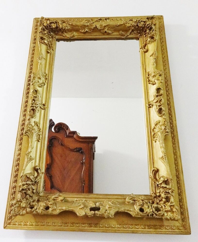Large antique victorian ornate gold gilt gesso rococo wood for Large wall mirror wood frame