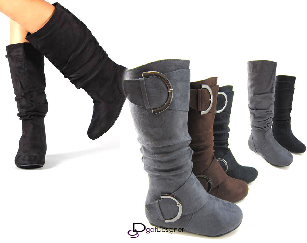New Womens Shoes Knee High Mid Calf Round Toe Slouch Comfort Casual Boots Flat  Ebay-1083