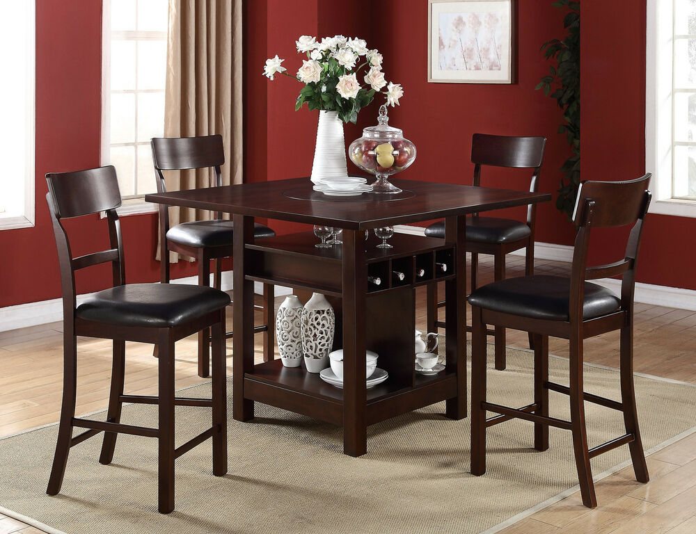 5 pc dark rosy brown counter height dining table set w lazy susan storage base ebay. Black Bedroom Furniture Sets. Home Design Ideas
