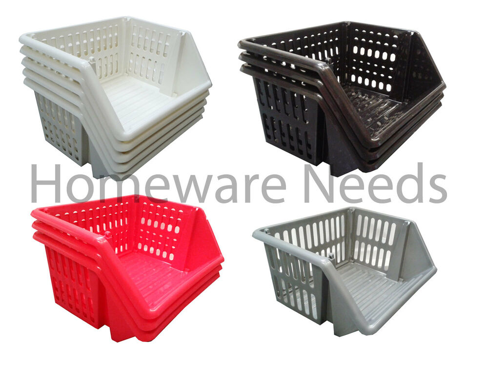 kitchen baskets storage plastic stacking baskets stackers storage rack stand 35cm 2294